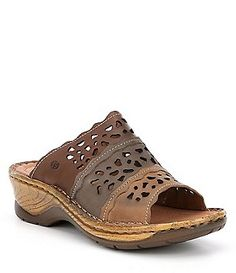 b4ea31dcc0d0 Josef Seibel Catalonia 60 Perforated Detail Slide Sandals Slide Sandals