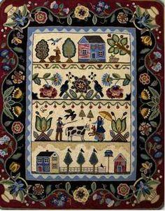 Sampler hooked rug