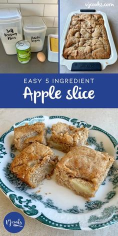 english Apple Pie Slice Recipe Only 5 Ingredients Video Tutorial Easy Baking Recipes, Apple Recipes, Sweet Recipes, Cooking Recipes, Apple Desserts, Kiwi Recipes, Fall Desserts, Diabetic Recipes, Yummy Recipes