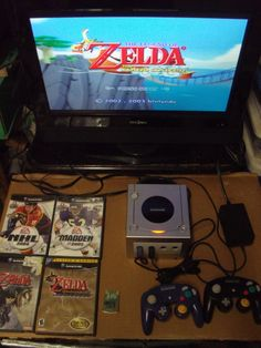 nintendo gamecube console w/ 2 controllers & 4 video games 2 zelda ea nes cube from $150.0