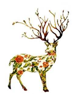 The holiday deer 8 x 10 inches watercolor art by claudiatremblay