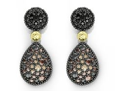 925/000% Sterling Silver Earring Yellow 18k. Gold Black Spinels & Brown and Champagne CZ. Price : $449.26 #bohemmeJewelry