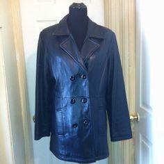 Albert Duke Double Breasted 100% Leather Coat Sz L