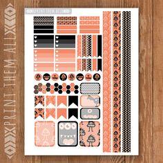 Monsters Printable Planner Stickers Black by PrintThemAllStudio