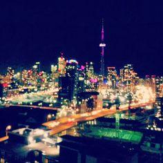 Toronto , night time city lights