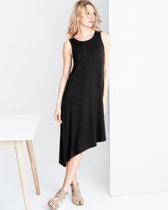 Eileen Fisher Viscose Jersey Asymmetrical Tank Dress
