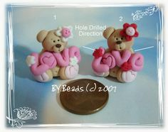 Valentines LOVE Bear Polymer Clay Charm Bead Scrapbooking Embelishment Bow Center Pendant Cupcake Topper. $2.75, via Etsy.