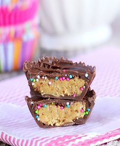 Healthy Cake Batter Reeses by Chocolate Covered Katie, posted with many other healthy chocolate snacks Healthy Treats, Yummy Treats, Sweet Treats, Yummy Food, Healthy Birthday Treats, Healthy Candy, Healthy Cookies, Yummy Snacks, Candy Recipes