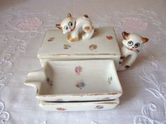 Your place to buy and sell all things handmade Asian Cat, Cigarette Box, Vintage Ashtray, Granny Chic, Tiny Flowers, Old Tv, Sweet Memories, Porcelain, Kitty