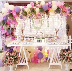 baby shower ideas for girls and boys. Baby shower decorations and baby shower decor Balloon Garland, Balloon Decorations, Birthday Decorations, Baby Shower Decorations, Wedding Decorations, Unicorn Birthday Parties, Unicorn Party, Baby Birthday, Garden Birthday