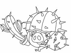 Angry birds epic coloring page - cactus pig