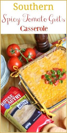 Tomato Grits Casserole is a delicious Southern comfort dish made of creamy, stone grits mixed with spicy tomatoes and chilies. It is the perfect side dish to serve for breakfast, brunch, or dinner. After one bite, you will be coming for more! Grits Casserole, Breakfast Casserole, Casserole Dishes, Breakfast Recipes, Best Side Dishes, Side Dish Recipes, Dinner Recipes, Yummy Recipes