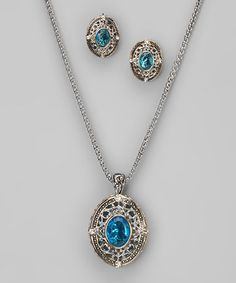 Take a look at this Aquamarine & Silver Filigree Frame Necklace & Earrings by Regal Jewelry on #zulily today!