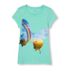 s Short Sleeve Glitter Rainbow Field Butterfly Graphic Tee - Blue T-Shirt - The Children's Place