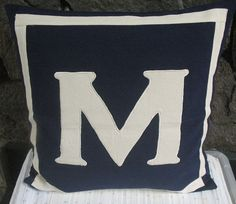 navy monogrammed pillows -18 inches CUSTOM ORDER -navy pillow with white letter and border on Etsy, $33.50