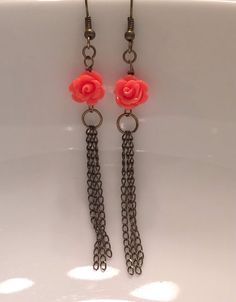 Coral Rose Flower and Antiqued Chain by MarmaladeAndMayberry