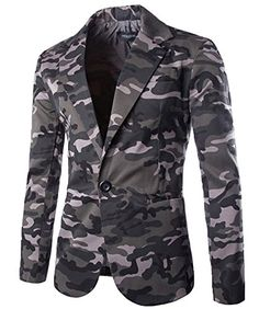 Nine Town Men's Camouflage Slim Fit Casual One Button Bla...