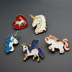 405f9359492 5pcs Unicorn Enamel Lapel Pins Cute Pin for Girls Birthday Gift Badge Brooch  DIY