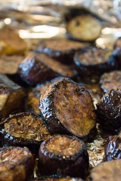 Balsamic roasted eggplant... going to try this and add peppers and red onion in with it.