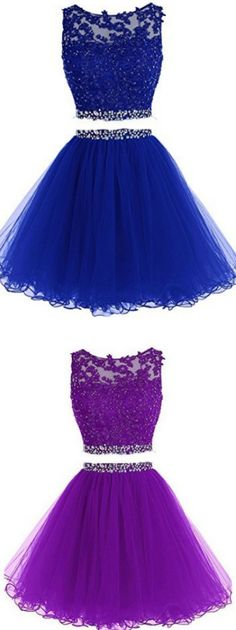 Black Prom Dresses, Short Prom Dresses, Two Pieces A Line Tulle Applique Short Homecoming/Prom Dresses With Beads - Kleider Two Piece Homecoming Dress, Dama Dresses, Blue Homecoming Dresses, Prom Dresses Two Piece, Backless Prom Dresses, A Line Prom Dresses, Beautiful Prom Dresses, Cheap Prom Dresses, Nice Dresses