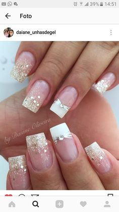 Trendy Nails Ideas Glitter Tips 33 Ideas Trendy Nails Ideas Glitter Tips 33 Ideas Fabulous Nails, Gorgeous Nails, Pretty Nails, French Nail Designs, Nail Art Designs, Nails Design, Toe Designs, White Nails, Red Nails