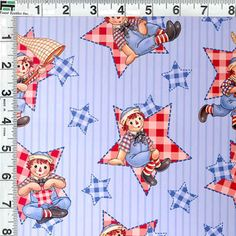 Raggedy Ann and Andy Red White and Blue Stars Toss by Fabrics4Kids, $3.50