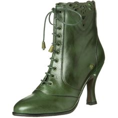 Neosens GAMAY Laceup boots (111.555 CLP) ❤ liked on Polyvore featuring shoes, boots, ankle booties, heels, footwear, green, green boots, green leather boots, lace up heel boots and faux suede lace-up booties