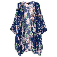 Olrain Women's Floral Print Sheer Chiffon Loose Kimono Cardigan Blue ($11) ❤ liked on Polyvore featuring tops, cardigans, outerwear, jackets, kimonos, blue cardigan, kimono top, blue top, floral tops and loose tops