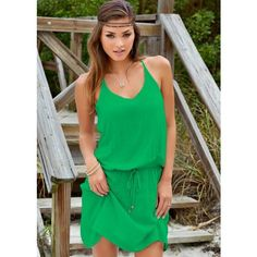 Venus Summer Slip On Dress ($17) ❤ liked on Polyvore featuring dresses, green color dress, viscose dress, summer dresses, rayon summer dresses and venus dresses