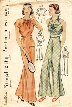 """""""Sleeping and Beach Pajamas. The two-piece sleeping pajama has short raglan sleeves and the neckline is gathered in front. A lace edging may be added if desired. A halter top, which ties at the waist and back of neck, converts this into a beach pajama."""""""