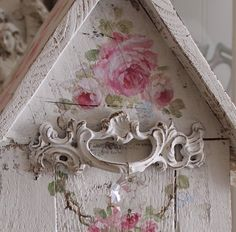 Shabby Chic Roses Birdhouse with Crystal and Pearl Perch