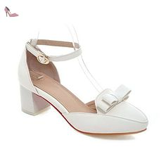 balamasa pour femme avec nœud en métal kitten-heels imitation cuir Sandales - Blanc - blanc, 39 - Chaussures balamasa (*Partner-Link)