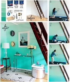 Ombre walls - interesting! Grab a free quart sample of Kelly-Moore Paint at WomanFreebies. com  Not the hats just the blues.