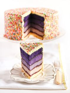purple ombre cake with sprinkles!