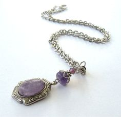 Amethyst Silver Necklace Antique Silver by CinLynnBoutique on Etsy, $28.00