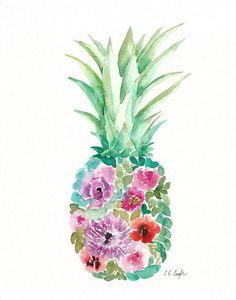 Watercolor Flower Pineapple original 11x14 by GrowCreativeShop