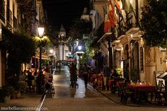 Calle Ancha in Old Town at night