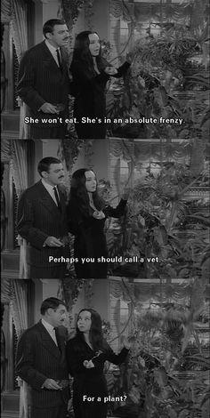 Morticia Addams in the greenhouse
