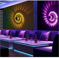 RGB Spiral Hole Led Wall Lamp Dimmable Spiral Lamp With Remote Control Surface Install Mini Light For Game Room Bar . Wall Wash Lighting, Sconce Lighting, Led Wall Lamp, Led Ceiling Lights, Lamp Bulb, Ceiling Lamp, Loft Decorado, Hookah Lounge Decor, Nightclub Design