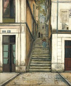 "Stair passage Cottin, Maurice Utrillo. French (1883 - 1955)    ""L'escalier du Passage Cottin"""