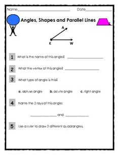 Angles, Shapes and Parallel Lines II -   Lesson was successful with 4th grade students.    Geometry lesson that asks students to draw and identify various shapes, lines and angles including:    Right Angles  Obtuse Angles  Acute Angles  Vertex of the Angle  Parallel Lines  Perpendicular Lines  Rays  Quadrangles and other shapes.