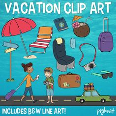 Vacation Clip Art Is Yours To Download Instantly This Beach Holiday Clipart Classroom Includes