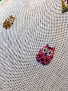 Cross stitch pendant Cute Owl Teal 20 mm by BlackCatHandmadeShop