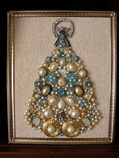 Unique Angel Jewelry | Blue Angel Unique Framed Vintage Jewelry Art Christmas Tree Pearls ...