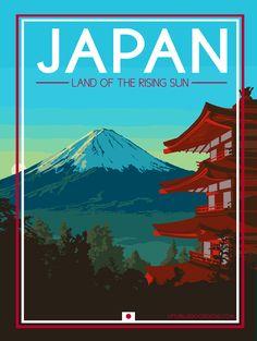 Japan Mt Fuji - Vintage Travel Poster