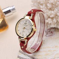 Deals For $5.42, Buy Fashion Brand Casual Quartz Watches For Women Rivet Thin Leather Strap Wrist Watches Ladies Gold Wristwatch relogio Ceasuri