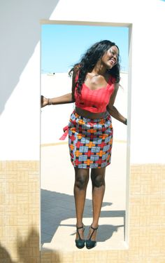 New to LiveFlavour! This Cube Print Skirt and Red Crop Top set by Diarra Bousso is only $39.99!