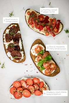 Toast is awesome for breakfast or afternoon snacks. Let us know your favorite toast in the comments! Also, check our stories for some great recipes :) Easy Snacks, Healthy Snacks, Healthy Eating, Healthy Recipes, Healthy Tips, Healthy Afternoon Snacks, Eating Plans, Mozzarella, Hummus