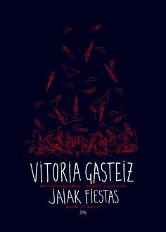 Cartel Fiestas Vitoria (Virgen Blanca) 2016. Titulo: Bulle la fiesta. Autora: Blanca Quintana Alonso