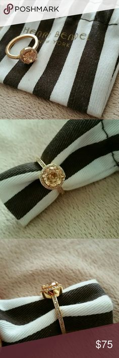Henri Bendel ring +bag Henri Bendel rose gold plated and swarovski crystal halo engagement or fashion ring. Great condition, barely worn. Comes with bag shown in pics. henri bendel Jewelry Rings